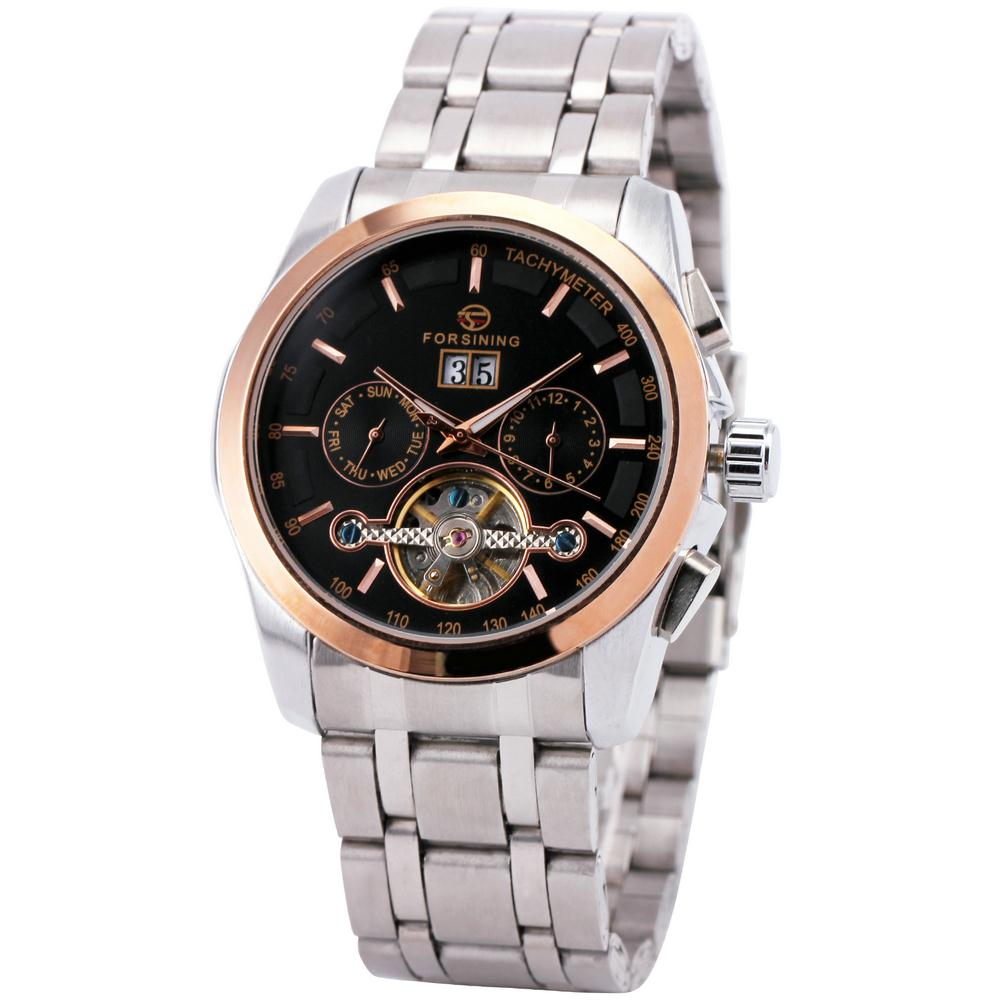 Men Unisex Luxury Vogue Skeleton Automatic Mechanical Watch Stainless Steel Strap Multifunction Sub dial Tourbillon Box