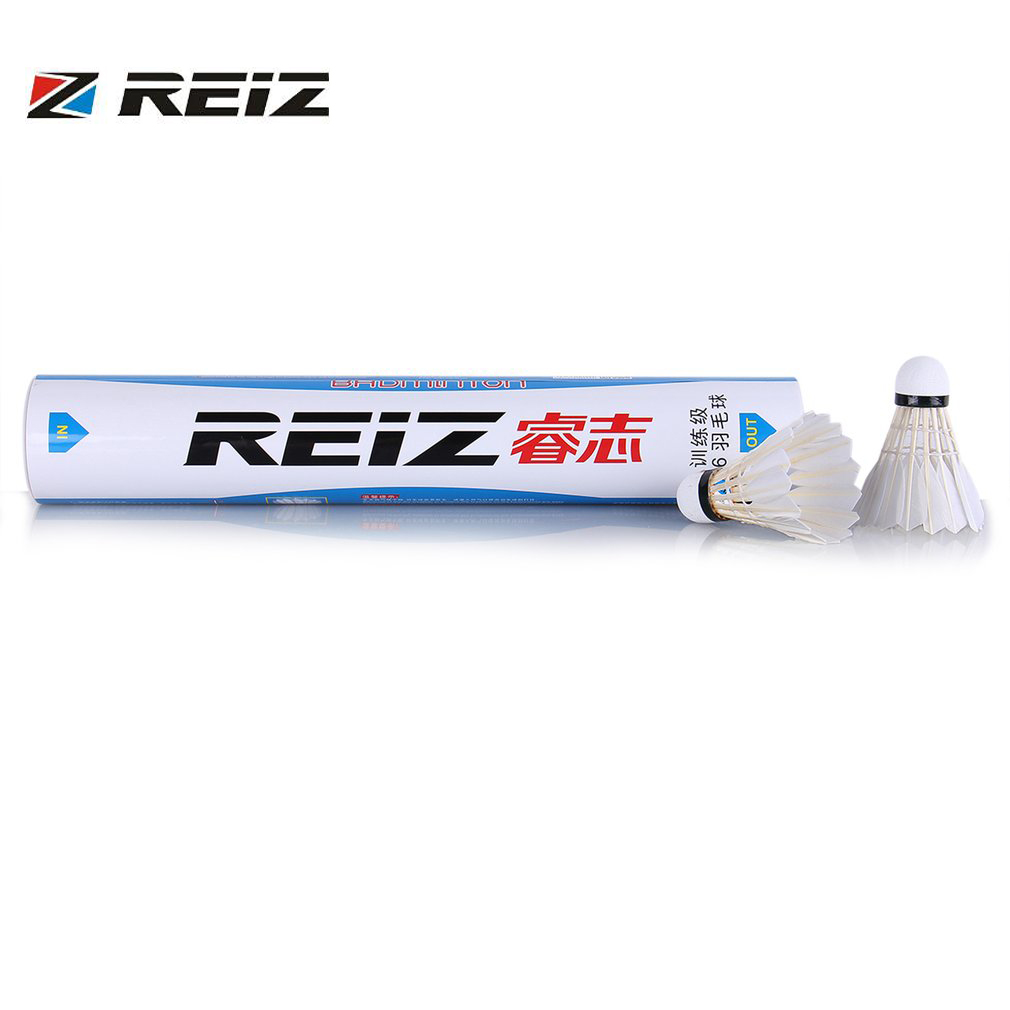 12pcs/set REIZ M6 Badminton Shuttlecocks Top Grade Duck Feather Outdoor Sports Training Badminton Ball Sports Accessories New