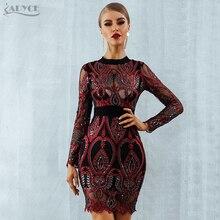ADYCE 럭셔리 연예인 파티 장식 조각 드레스 여성 2020 새로운 긴 소매 다시 섹시한 메쉬 할로우 미니 레드 클럽 드레스 Vestido