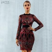 ADYCE luksusowa impreza celebrytów sukienka z cekinami kobiet 2020 nowa z długim rękawem Backless seksowna siatka drążą Mini czerwona sukienka klubowa Vestido