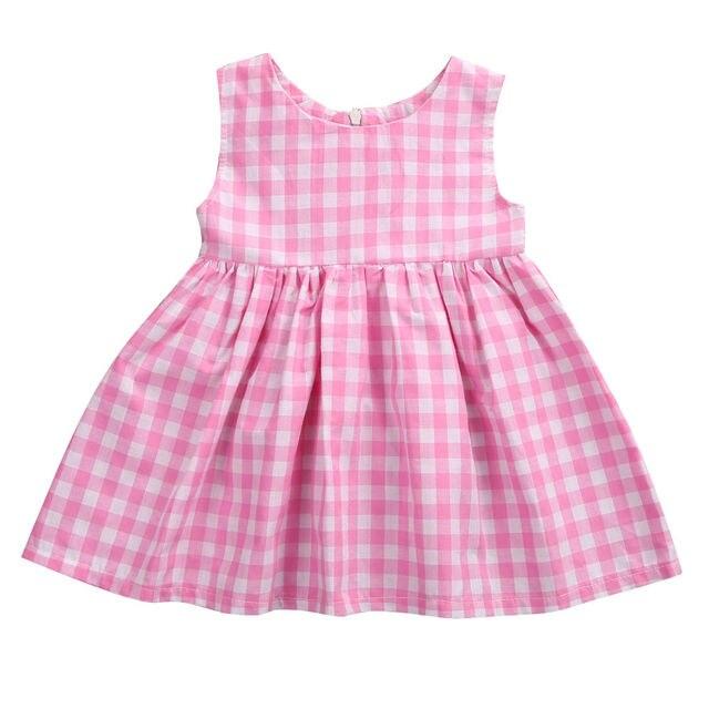 Verano Pink Plaid bebé Niñas desfile del vestido de partido lindo ...