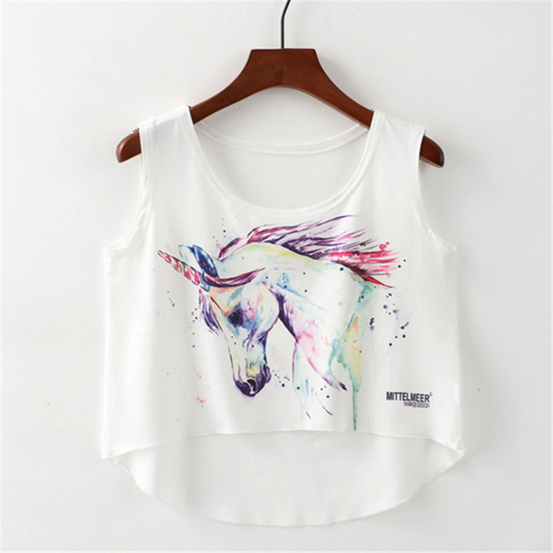 Western Style Women Sleeveless Crop   Top   Color Drawing The Unicorn Print   Tank     Tops   For Womens O-neck Casual Umbilical Vest Female