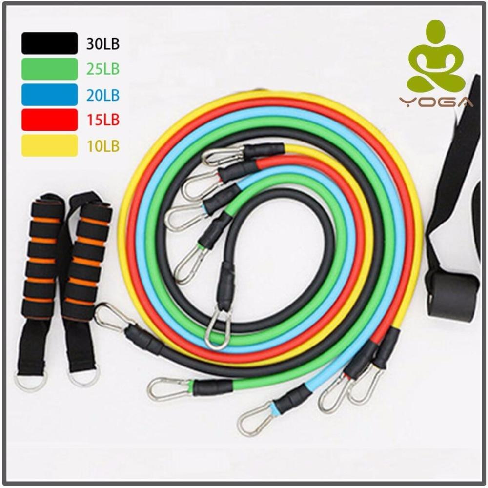 11 unids/set de Bandas Elásticas de resistencia, Crossfit ejercicio de entrenamiento de Yoga tubos cuerda de caucho expansor elástico bandas elásticas para Fitness con bolsa