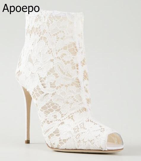 Lace Design Spring Winter Wedding Women Peep Toe Zipper Shoes Solid White Red Thin High Heels Sweet Fretwork Ankle Boots Women solid black spring autumn casual women shoes rivets peep toe side zipper thin super high heels women sandal boots free shipping