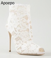 Lace Design Spring Winter Wedding Women Peep Toe Zipper Shoes Solid White Red Thin High Heels Sweet Fretwork Ankle Boots Women