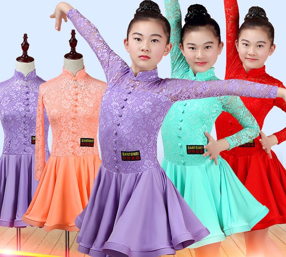Height Quality Girl Latin Dance Dresses 4 Color Fitness Stage Garments Children Exhibition Costume Student Rehearsal