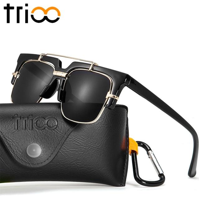 011931177c TRIOO Square Black Sunglasses For Men Cool Half Frame Shades Luxury UV400  Gradient Lens Lunette High