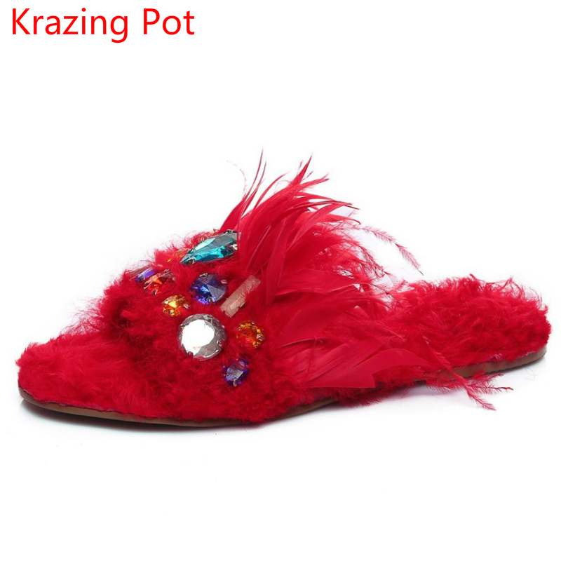 New Arrival Sheep Fur Shoes Woman Superstar Flats Crystal Peep Toe Sandals Slingback Causal Warm Winter Outside Slippers L51 krazing pot empty after shallow shoes woman lace work flats pointed toe slip on sheep suede causal summer outside slippers l16