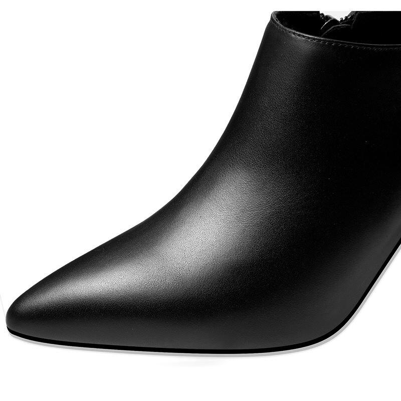 Las Zapatos Alta Genuino Mujer Tacones Altos Cuero Mujeres Puntiagudo Oficina Yinkoget Alto Calidad Del Tacón Los Picture Señoras as Pie Dedo De Picture As 5wqx67