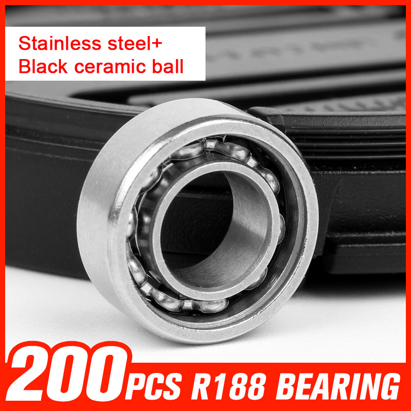 200pcs Bearings R188 Stainless Steel Bearing 10 Black Ceramic Beads Bearings for Multi-style Hand Spinner Toy Accessories 1000pcs 688 bearings ceramic beads bearing for gyro rotary machine precision reducer automotive lights shaft tool accessories