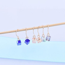 E0210 Hot Sale Cute Pink Blue Champagne Crystal Drop Earrings For Women Fashion Wedding Party Jewelry Excellent Gift Wholesale