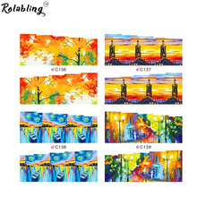 Rolabling Beautiful Fall mix oil painting water transfer nail sticker