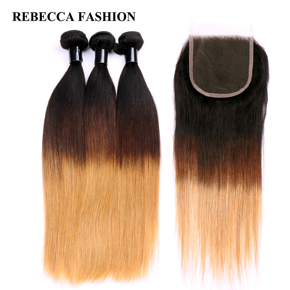 Unparalleled Rebecca Remy Hair Brown Blonde Ombre Human Hair 3