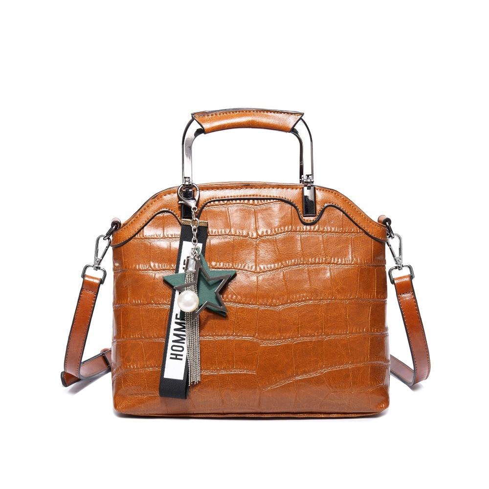 2018 Recommend 100% Genuine Leather Women Shoulder Bag Metal Top-Handle Shell Bag Casual Handbag Luxury Accessories Tassel Tote metal handle winged tote bag