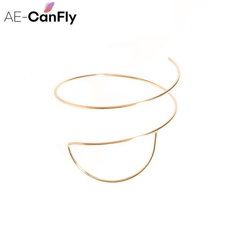 AE-CANFLY Simple Metal Upper Arm Open Bangle Ethnic Geometric Armlet Arm Cuff Jewelry Wholesale 2K1029