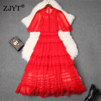 High Quality Designer Summer Long Dress Women Elegant Cloak Sleeves See Through Sexy Tulle Cake Lace Party Dresses Woman Clothes
