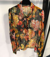Casual Blouse for Women Long Sleeve Floral Printed Shirts 2019 Spring Women Silk Shirts