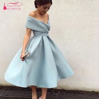 Hot Sale Vestido de Festa Evening Dress Gown Simple Elegant Sky Blue Off The Shoulder Tea Length Short Prom Dresses