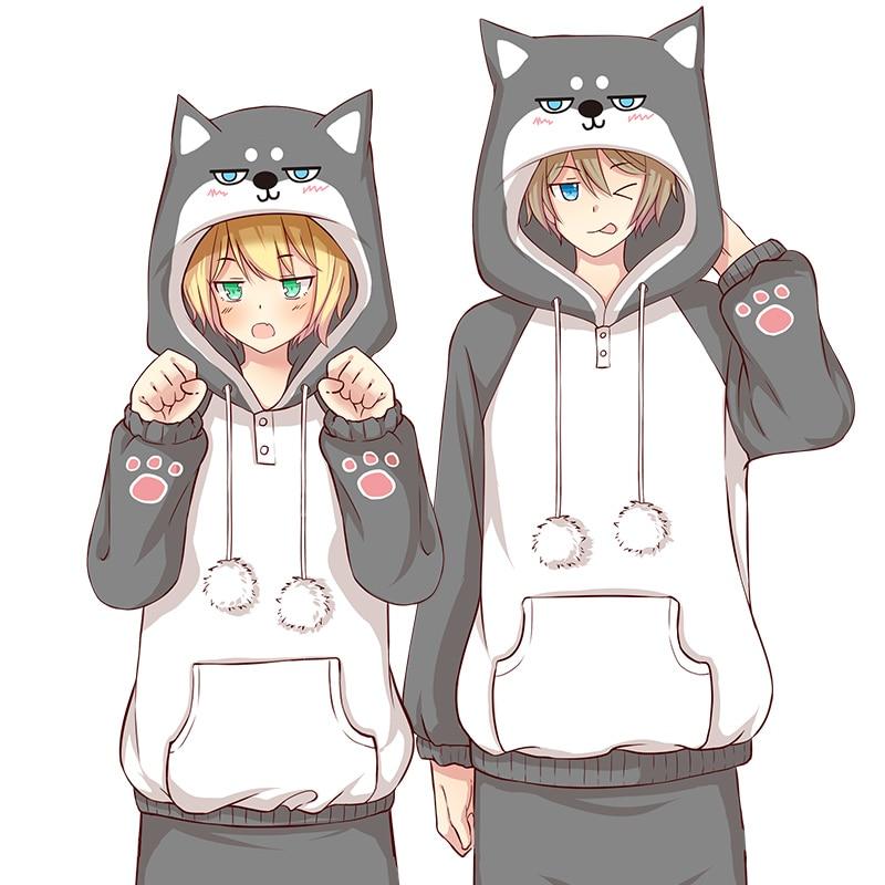 Harajuku Japanese Kawaii Hoodies set Women MEN COTTON Sweatshirts  Doge Muco Winter Plush Lovely Muco ! Anime Pajama Sets suits
