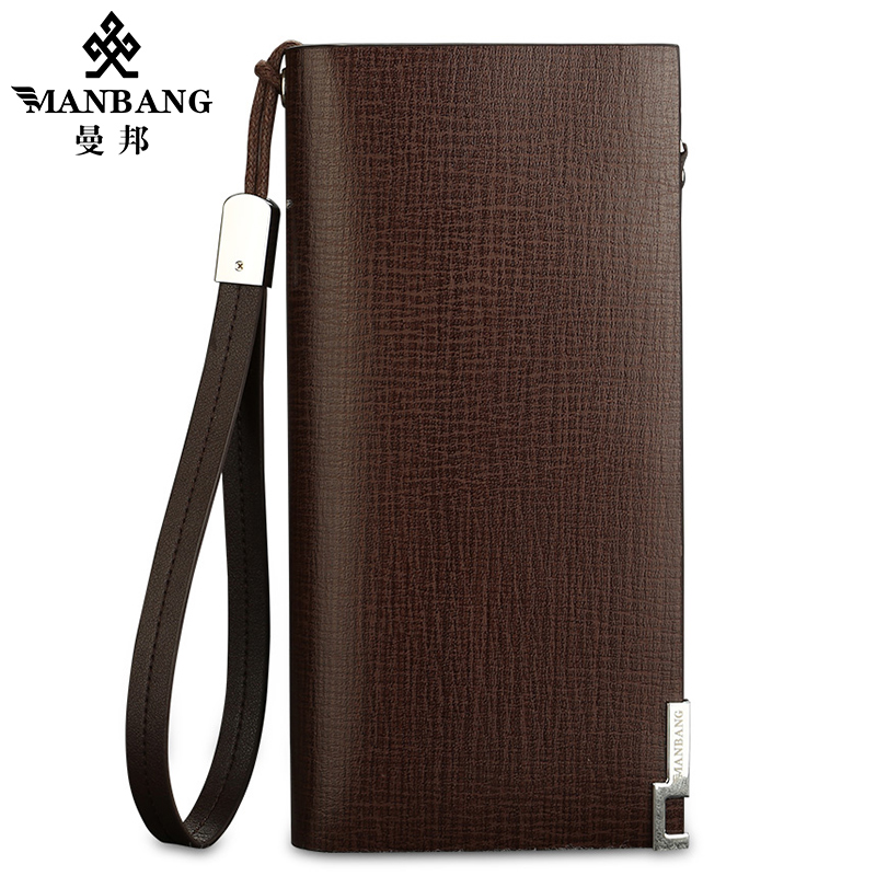 Manbang fashion men wallets genuine leather long zipper clutch purse brand business male hand bag wallet feidikabolo brand zipper men wallets with phone bag pu leather clutch wallet large capacity casual long business men s wallets