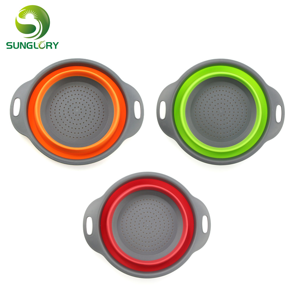 Foldable Silicone Colander Fruit Vegetable Washing Basket Strainer Collapsible Drainer With Handle Wash BasketKitchen Tool
