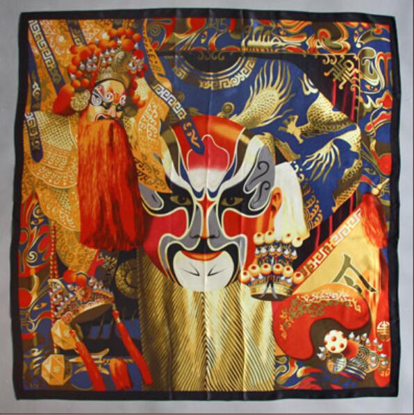 Moda xale Ópera de pequim Máscara pintura impressão lenço de seda quadrado grandes mulheres do tamanho grande pashmina lenços de seda 2014 e xales cape