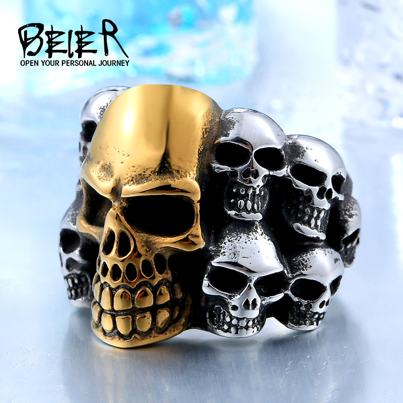 BEIER Fashion Stainless Steel Mans Rings From China Biker Punk Lots Of Skull Jewerly BR8-079 free shipping