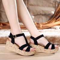 Catching Summer Style Comfortable Bohemian Wedges Women Sandals For Lady Anckle Buckle Shoes High Platform Open Toe Flip Flops