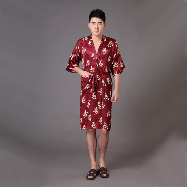 Summer New Burgundy Male Kimono Yukata Gown Chinese Men Silk Rayon Robe Lounge Nightgown Sleepwear Size S M L XL XXL XXXL MR018