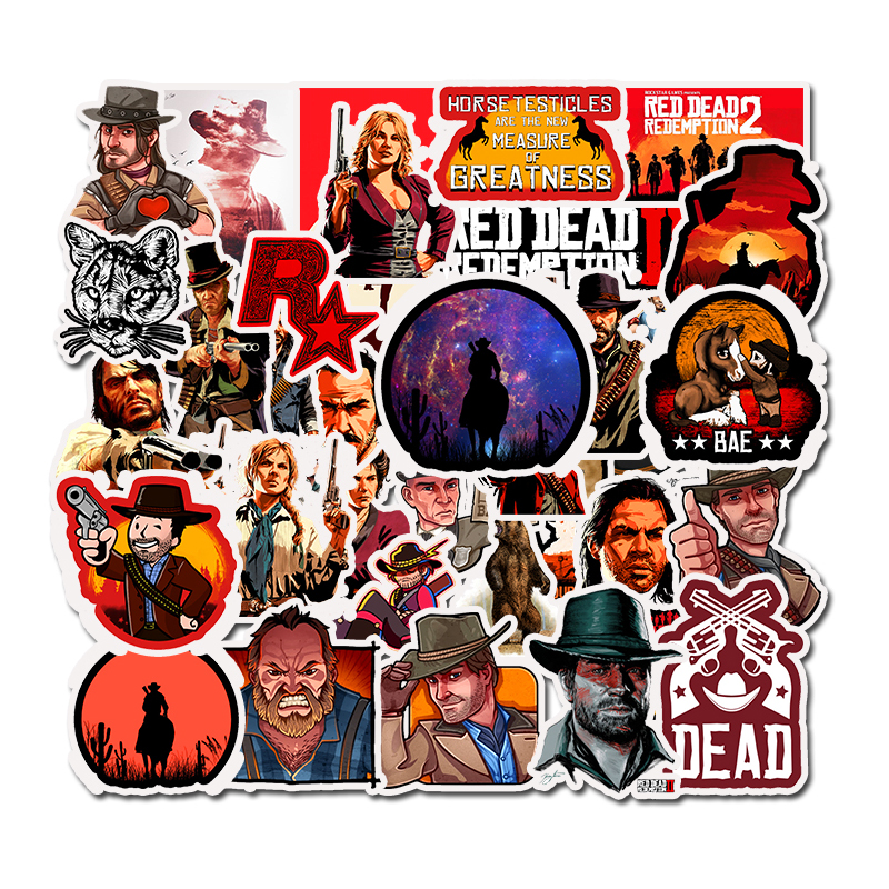 50Pcs Top Game Red Dead Redemption Stickers For Notebook PC Skateboard Bicycle Motorcycle DIY Waterproof Toys Sticker