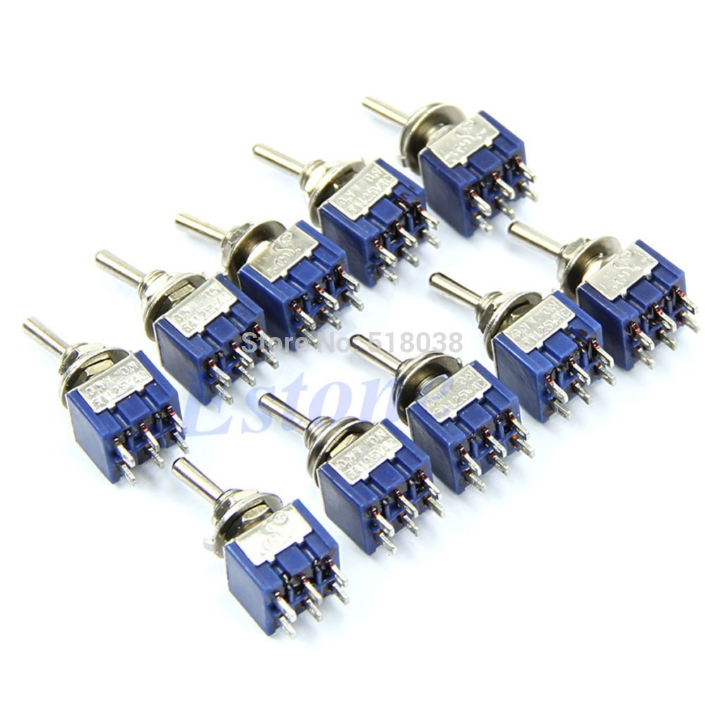 C18 hot-selling newest 5pcs/lot High Quality 6-Pin DPDT ON-ON Mini Toggle Switch 6A 125VAC Mini Switches