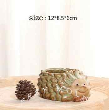ซิลิกาเจลแม่พิมพ์ซิลิโคน 3d แจกันโกหกขนาดเล็กเม่นกระถางดอกไม้น่ารักสัตว์เม่นรูปร่างแม่พิมพ์ปูนซีเมนต์ดินแม่พิมพ์