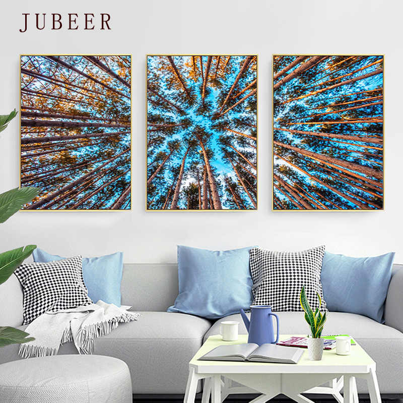 Modern Forest Landscape Canvas Painting Wall Art Poster for Living Room Triptych Bedside Painting Wood Picture