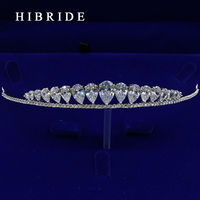 Full AAA CZ Tiara King Crown Wedding Hair Jewelry Micro Pave Party Headpiece Women Birthday Bridal