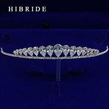 HIBRIDE Simple Design Tiara Crown Wedding Hair Jewelry Bridal Headpiece Accessories HC00008