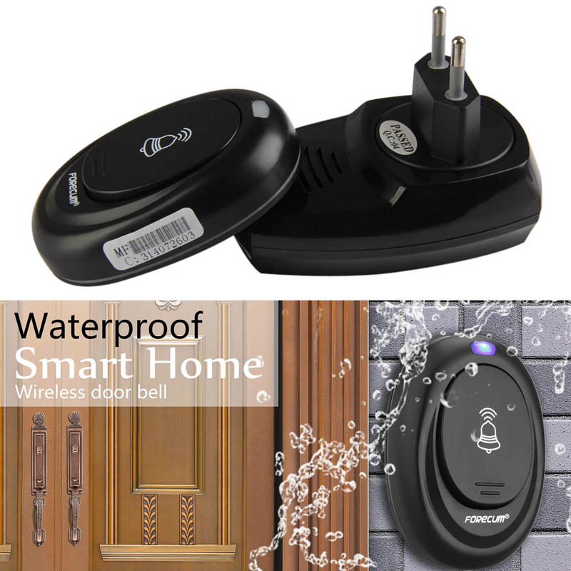Wireless <font><b>Remote</b></font> Control Door Bell 36 Songs Waterproof Intelligent <font><b>Doorbell</b></font> 100M Range Transmitter Receiver EU Plug image