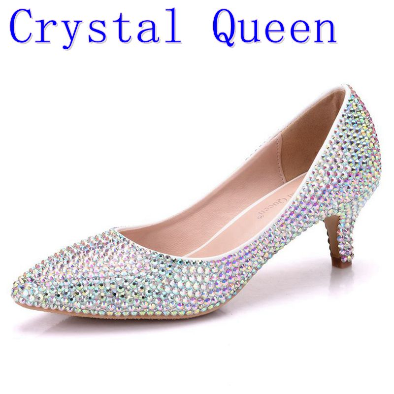 Crystal Queen Women Pumps Crystal Wedding Shoes Pointed Toe High Heels Cinderella Shoes Rhinestone 5CM Heels Shoes