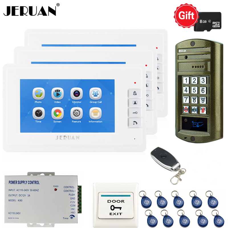 Home 7`` LCD Video Door Phone Voice/Video Recording Intercom System Kit 3 Monitor + Password Access Control Mini Camera 1V3
