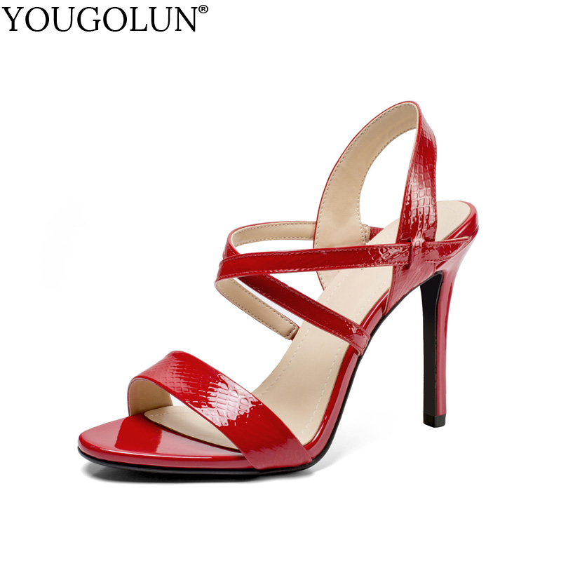 цена на YOUGOLUN Women Cross Strap Sandals Summer Genuine Patent Leather Sexy Ladies High Thin Heels Woman Black Red Party Shoes #A-125