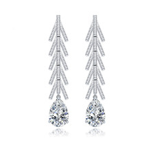 Luxury Romantic Bridal Long Dangle Earrings Poved Tiny Cubic Zircon with Waterdrop Crystal for Women Wedding Party Jewelry Gift