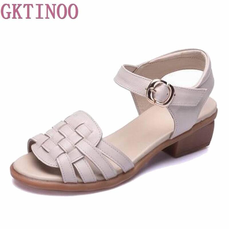 Mulheres Sandálias de verão 2018 artesanal de couro genuíno mulheres casual confort A-1579 Sandalias Femininas Sapatos Casuais Mulheres