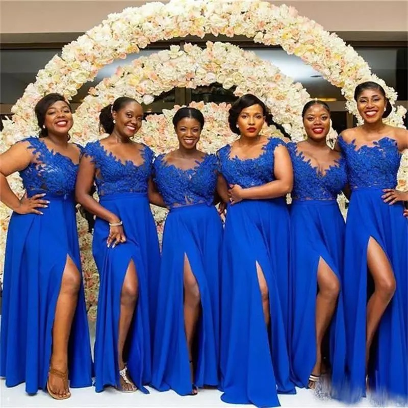 Cinderella Africa Royal Blue Scoop Side Slit Lace Applique Chiffon Bridesmaid Dresses Floor Length Sexy Lace Bridesmaid Dresses