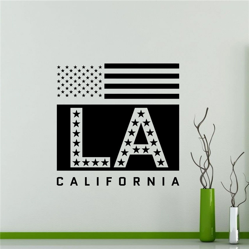Los Angeles Wall Decal Usa California State Home Decor Bedroom Living Room Restaurant Removable Decor Wall