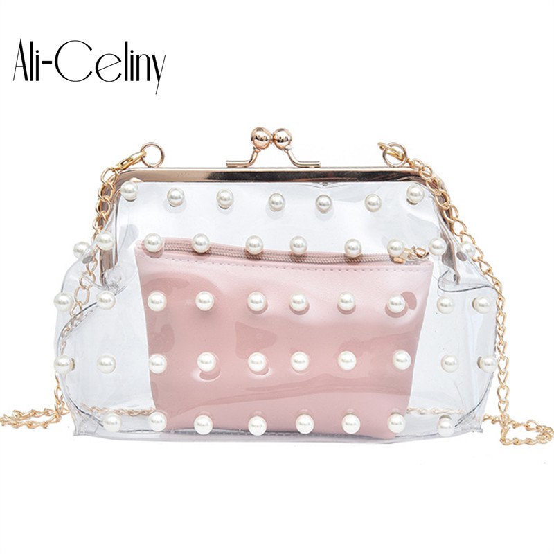 Brand original design transparent PVC bag High Quality Designer Women Pearl Bag Leather Bag Women Crossbody Bag Ladies Tote