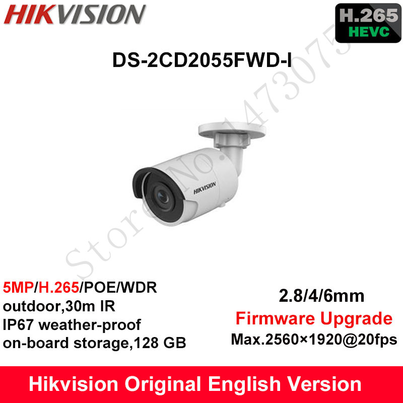 In Stock Hikvision English Security Camera DS-2CD2055FWD-I 5MP H.265+Mini Bullet CCTV Camera WDR IP Camera POE on-board Storage hikvision original english h 265 5mp ip camera security outdoor camera ds 2cd2055fwd i 5mp bullet cctv ip camera h 265 ip67 poe