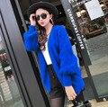 T mostrar genuina visión de la cachemira suéter mujeres chaqueta de cachemira pura de punto chaqueta de visón de piel larga capa modificado para requisitos particulares M19 envío gratis