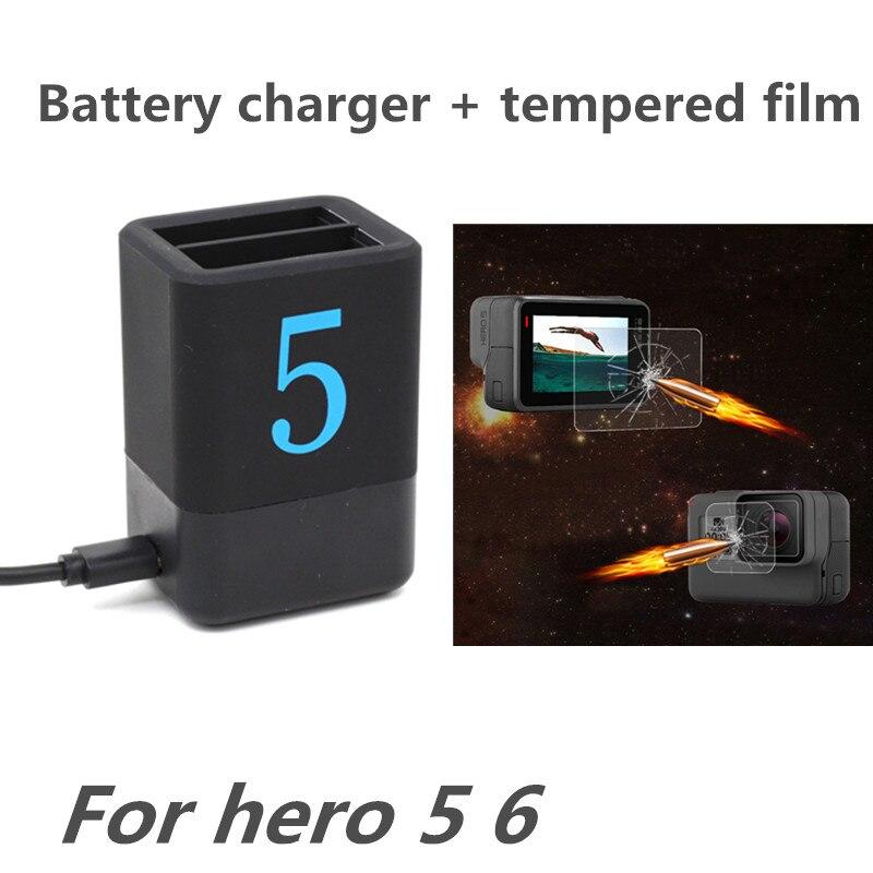 Dual Charger Tempered Film voor Gopro Hero 6 5 Batterij Slots Oplader - Camera en foto