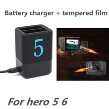 Dual Charger Tempered Film for Gopro Hero 6 5 Battery Slots Screen Protector For Go Pro Action Camera Accessories