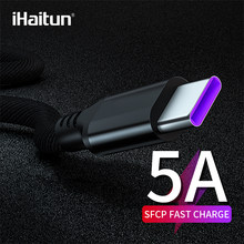 IHaitun 5A tipo C Cable USB para Huawei Mate 20 P20 Honor 10 Xiaomi Redmi Note 7 Pro Cable USB 3,1 cargador de cable de datos Super C(China)