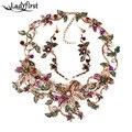 2016 Recién Llegado de Metal de La Manera za Collares de flores Colgantes y Collares de Cristal de La Vendimia Declaración Collar Regalos B431